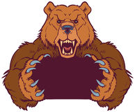 Brown Bear Mascot Holding with Claws Vector Template Royalty Free Stock Image