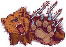 Brown Bear Mascot Slashing or Clawing Vector Cartoon Royalty Free Stock Images