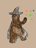 Brown bear megical wizard stamp Royalty Free Stock Image
