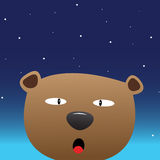 Brown bear in the night sky stock illustration
