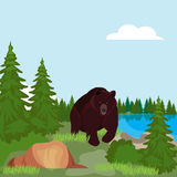 Brown bear in the Northern woods, in a forest clearing near. The pond. Doodle style vector illustration stock illustration