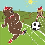 Brown bear plays football. Cartoon  humorous illustration Stock Photography
