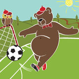 Brown bear plays football. Cartoon  humorous illustration Stock Photo
