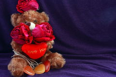 Brown bear with roses and hearts. Three dry roses. Three heart. Stock Image