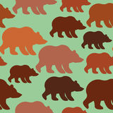 Brown bear seamless pattern. Background of wild animal Alaska. S Royalty Free Stock Images