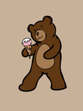 Brown bear and strawberry ice cream cone Stock Photo