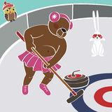 Brown bear tert Curling. Humorous illustration Royalty Free Stock Photo