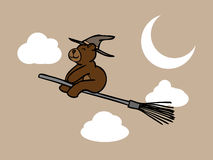 Brown bear wizard in night sky Stock Photography