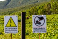 Brown bears near the Kuril lake. Warning signs on the fence in the Kronotsky Reserve, Russia, Kamchatka