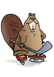 Brown beaver playing hockey ice Royalty Free Stock Image