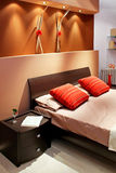 Brown bed Royalty Free Stock Image