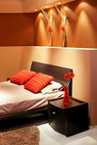 Brown bedroom Stock Images
