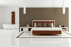 Brown bedroom with fashion bathtub Royalty Free Stock Photography