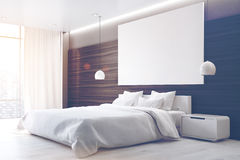 Brown bedroom with poster, side, toned Royalty Free Stock Photos
