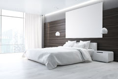 Brown bedroom with poster, side Stock Photos