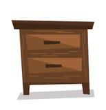 Brown bedside table vector illustration. Stock Images