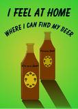 Brown beer advert. Illustration of advert for brown beer with text, I feel at home, where I can find my beer, green background Royalty Free Stock Images
