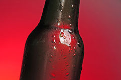 Brown beer bottle. Brown see through bottle of beer with tiny clear drops on its surface Stock Photo