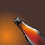 Brown beer bottle with drops water, EPS Royalty Free Stock Photo