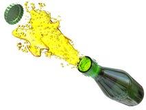 Brown beer bottle with splash Stock Photo