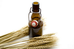 Brown beer bottle with wheat ears Royalty Free Stock Image