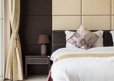 Brown beige bedroom leather style Royalty Free Stock Photography