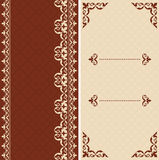 Brown and beige vector cards with arabic ornament Royalty Free Stock Photos