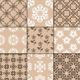 Brown beige floral ornaments. Collection of seamless patterns Royalty Free Stock Photos