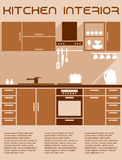 Brown and beige kitchen interior design in flat Royalty Free Stock Photos