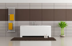 Brown and beige modern bathroom Royalty Free Stock Images
