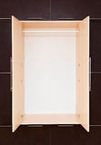 Brown and beige. modern wooden wardrobe. openly Royalty Free Stock Images