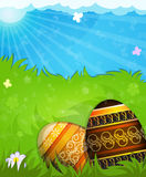 Brown and beige painted Easter eggs Stock Images