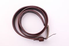 Brown Belt. Belt for men on white background Stock Photos