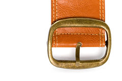 Brown belt with bronze buckle royalty free stock images