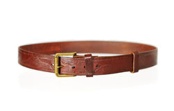 Brown belt with buckle isolated on white. Leather products Royalty Free Stock Image