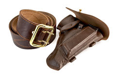 Brown belt and holster Royalty Free Stock Photography