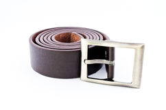 Brown belt on isolates background Stock Images