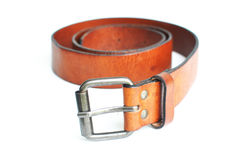 Brown belt in white background Stock Photography