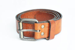 Brown belt in white background Royalty Free Stock Images