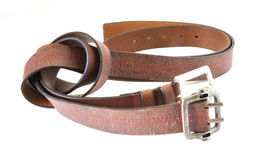 Brown belts. Two brown belts over white background Stock Photo