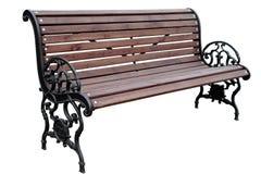 Brown bench cast iron base royalty free stock photos