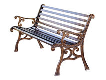 Brown bench isolated. On white with clipping path Stock Photos