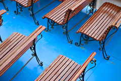 Brown benches Royalty Free Stock Photos