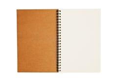 Brown bereiten unbelegtes Notizbuchpapiergeöffnetes getrennt auf Stockbilder