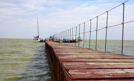 Brown berth. Brown Navy pier on the shore of the Azov sea Stock Photo