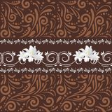 Brown bezszwowy ornamentacyjny wzór z białymi kwiatami dla projekta Fotografia Stock