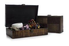 Brown biżuterii pudełko Zdjęcia Stock