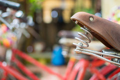 Brown Bicycle seat and flowers bokeh soft foclus selective Stock Image