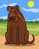 Brown big dog cartoon illustration Royalty Free Stock Photography