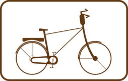 Brown bike on white background in frame. Silhouette brown bike on white background in frame Royalty Free Stock Photo